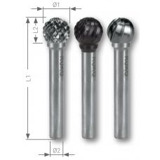 Борфреза твёрдосплавная форма D сферическая KUD 3,0 мм